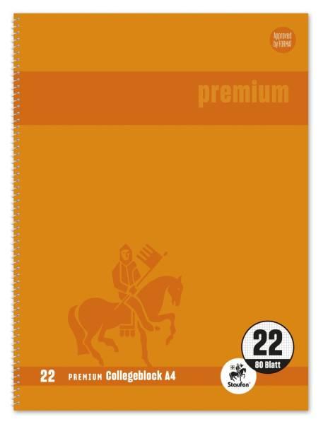 STAUFEN PREMIUM Collegeblock A4 80BL Lin.22 orange 734451387 mit Rand innen