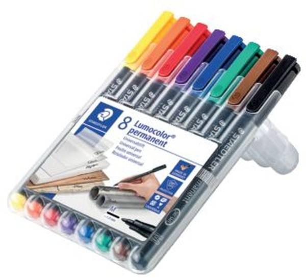 STAEDTLER Folienstift Lumocolor M 8 Farben sort. 317 WP8 permanent