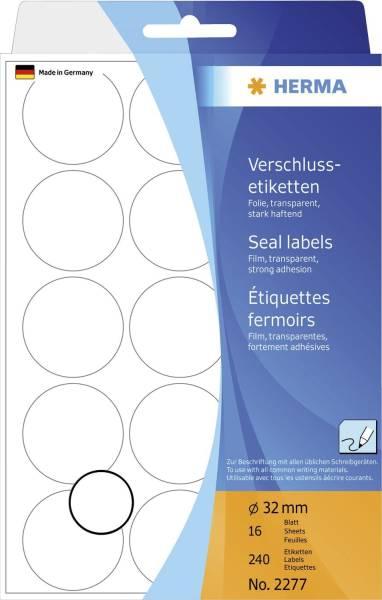HERMA Verschluss Etiketten Ø32mm transparent 2277 240 Stück permanent haftend