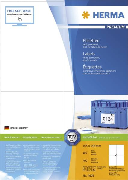 4676 Etiketten Premium A4, weiß 105x148 mm Papier matt 400 St