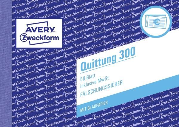 300 Quittung inkl MwSt A6 quer, MP, BL, fälschungssicher, 50 Blatt