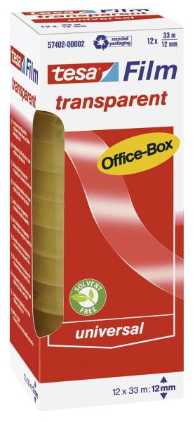 Klebefilm Office Box transparent 12 St , Bandgröße (L x B): 33 m x 12 mm