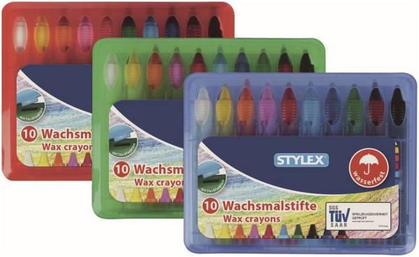 Wachsmalstiftetui 10 Farben, wasserfest, Box sortiert