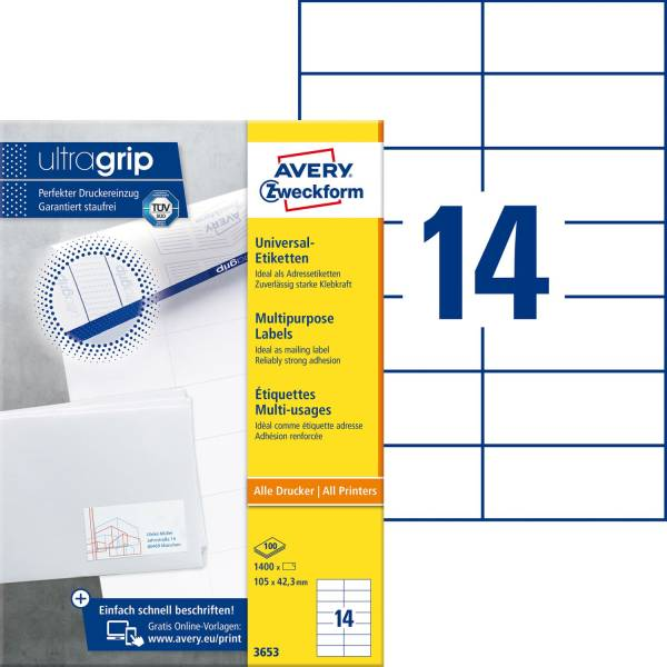 3653 Universal Etiketten 105 x 42,3 mm, weiß, 1 400 Etiketten 100 Blatt, permanent