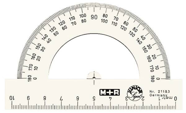 Winkelmesser Halbkreis, Polystyrol, von 0° bis 180°, 100 mm, glasklar