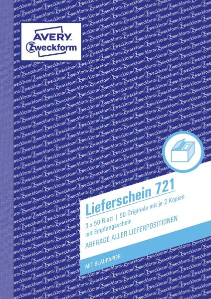 721 Lieferscheine mit Empfangsschein, DIN A5, mit Empfangsschein, 3 x 50 Blatt, weiß, gelb, rosa