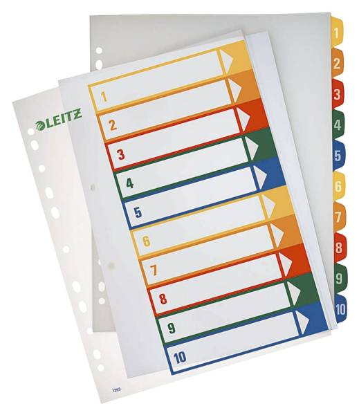 1293 Zahlenregister PP, blanko, bedruckbar, A4 Überbreite, 10 Blatt, farbig