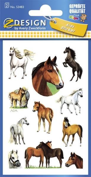 Z Design 53483, Kinder Sticker, Pferde, 2 Bogen 22 Sticker