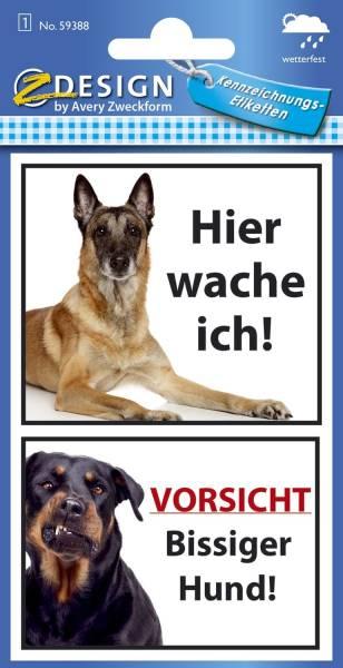 AVERY ZWECKFORM Sticker Warnung Bissiger Hund 59388