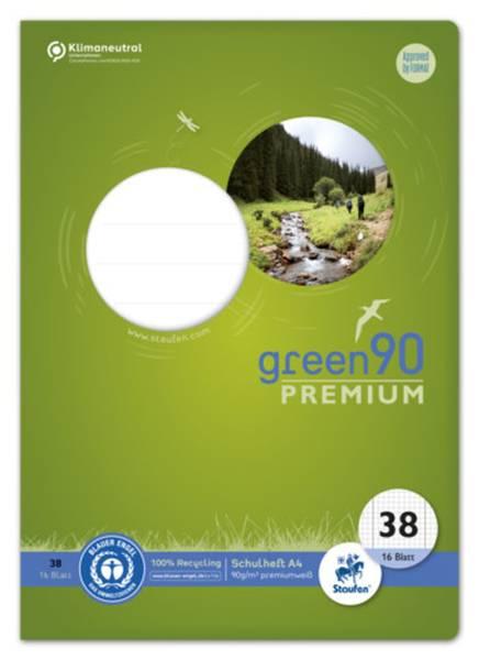 STAUFEN GREEN Heft LIN38 A4 16 Blatt kariert 040782038 Rd,perf.gel.90g