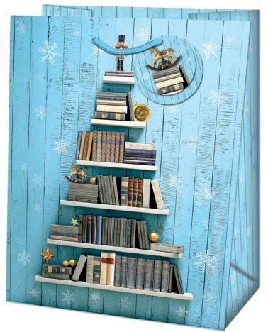 Weihn.Geschenktragetasche Bücher blau 19-528 TL 33x26,7x13,7cm
