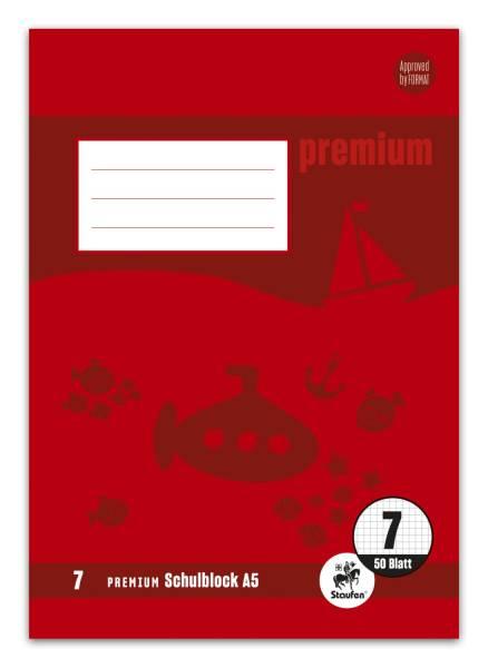 STAUFEN PREMIUM Schulblock A5 50BL Lin.7 kariert 734042007