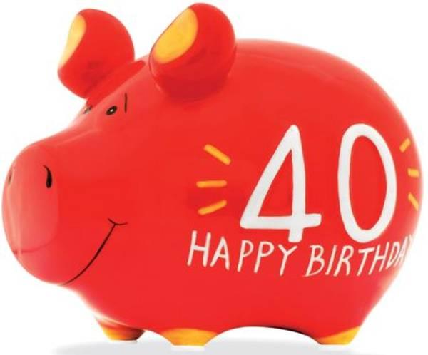 """Spardose Schwein """"40 Happy Birthday"""" Keramik, klein"""