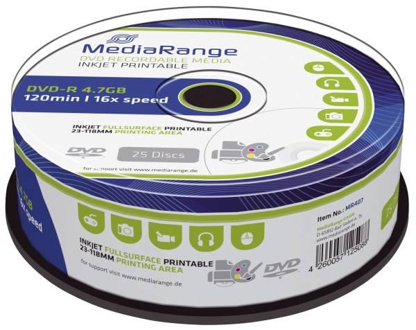 MEDIARANGE DVD-R 25er Spindel print. MR407 4,7Gb120mi