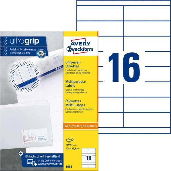 3665 Universal Etiketten 105 x 33,8 mm, weiß, 1 600 Etiketten 100 Blatt, permanent