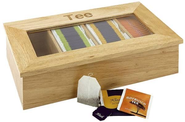 TEEBOX mit 4 Fächern, Aufschrift Tee, aus hellem Holz, mit Sichtfenster