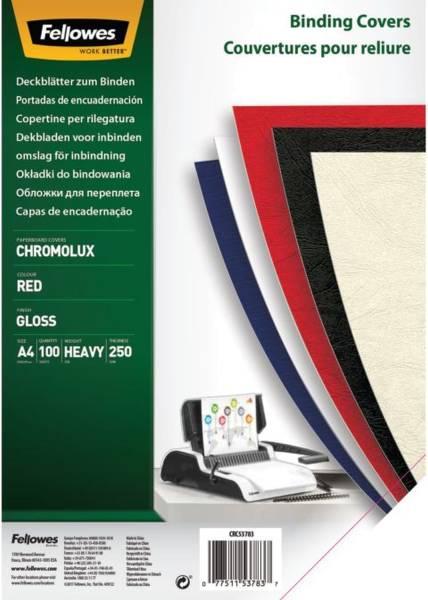 Deckblätter Chromolux A4 Deckblätter, rot, 100 Stück