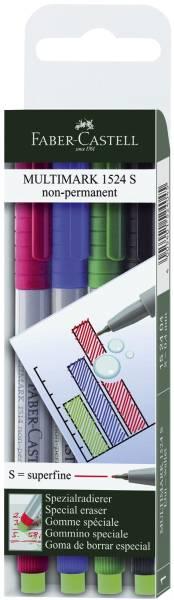 CD Marker MULTIMARK, wasserlöslich, Strichstärke: ca 0,4 mm, 4 Farben, Etui