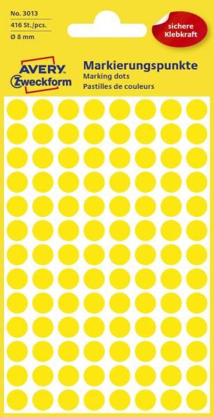 AVERY ZWECKFORM Etiketten Ø8 mm gelb 416 Stück 3013