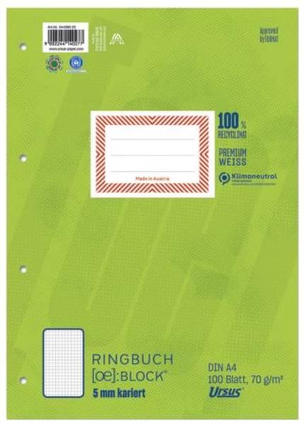 Ringbuchblock A4 100 Blatt 70g qm 5mm kariert