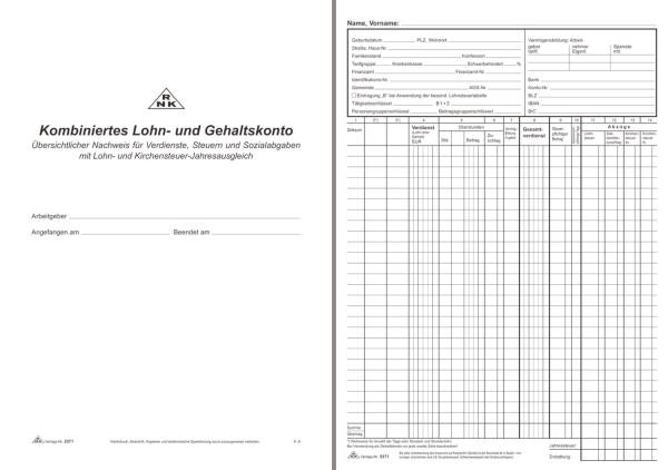 RNK Lohn-u.Gehaltkontobuch A4 2371 20BL