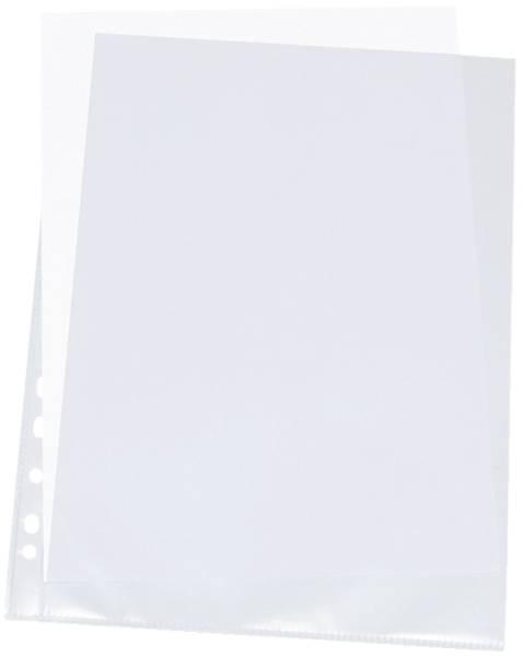 Prospekthüllen mit Lochrandverstärkung oben und links offen, mitgelocht, genarbt, 0,10 mm, A4, 100 S
