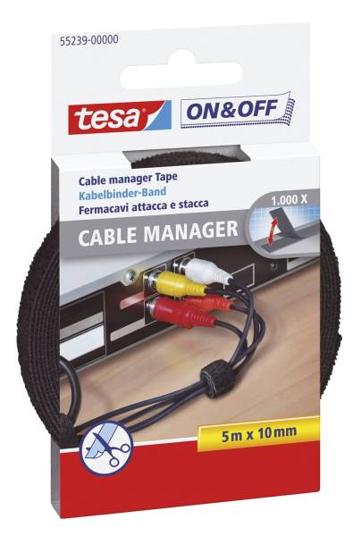On & Off Cable Manager 10 mm x 5 m, schwarz, universal