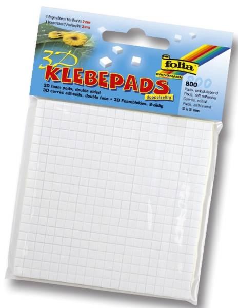 FOLIA Klebepads 800ST weiß 5x5mm 23055 je 400ST 2mm 3mm