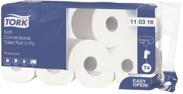 Premium Toilettenpapier, extra weich 3 lagig m Dekorprägung, hochweiß, Packung mit 8 Rollen