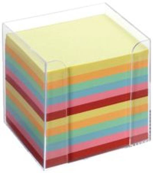 FOLIA Zettelbox 9.5x9.5x9.5 glasklar 9902 Zettel intensivfarb