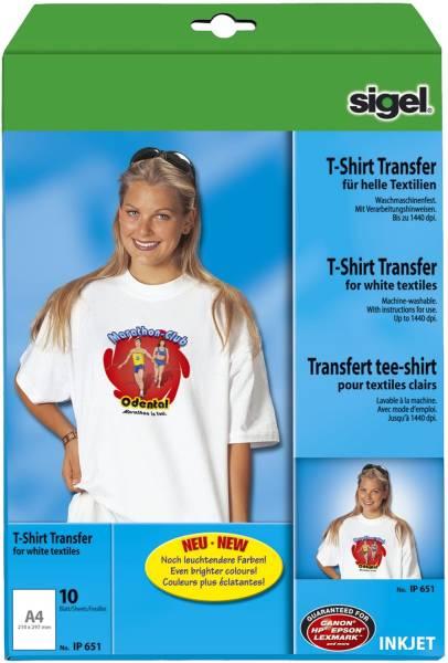 InkJet Transfer Folien für T Shirts, für helle Textilien, 10 Folien