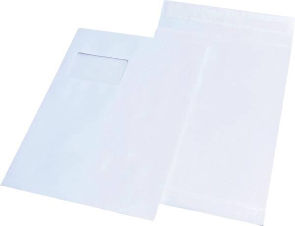 Faltentaschen C4, mit Fenster, mit 20 mm Falte, 120 g qm, weiß, 100 Stück