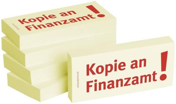 Bedruckte Haftnotizen Text: Kopie an Finanzamt