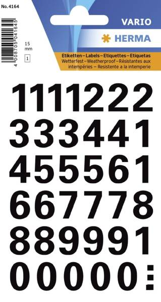 HERMA Zahlenetikett 0-9 Folie schwarz 39 Stück 4164 15 mm wetterfest
