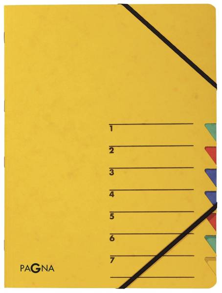 PAGNA Ordnungsmappe gelb 7teilig 24061-05 7 Gummizug