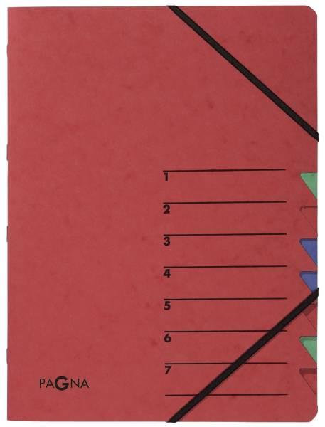 Ordnungsmappe EASY 7 Fächer, A4, Pressspan, 265 g qm, rot