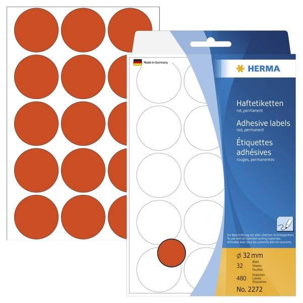 HERMA Etiketten Ø32mm rot 2272 480 Stück permanent haftend