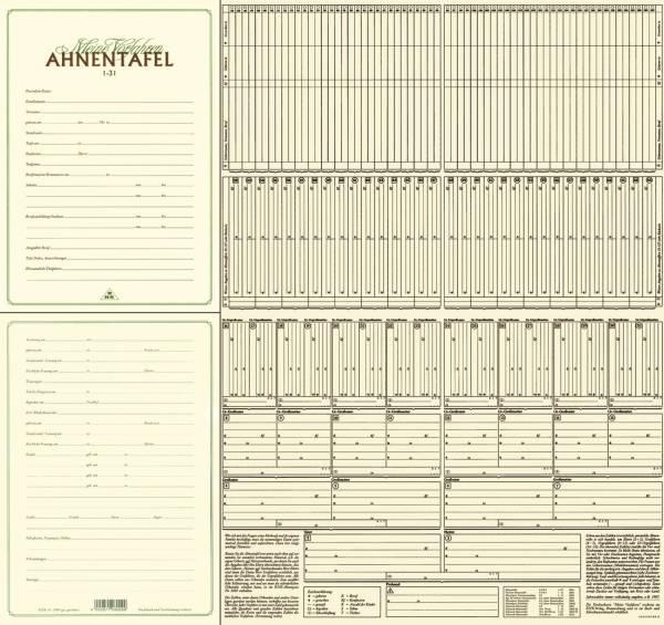 """Ahnentafel """"Meine Vorfahren"""" 7 Generationen, DIN A4, 120g qm"""