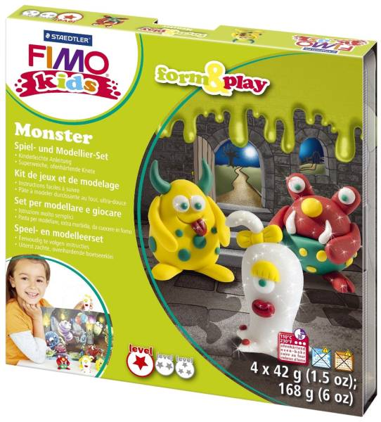 """Modelliermasse Kids Materialpackung Form & Play """"Monster"""", 4 x 42 g®"""
