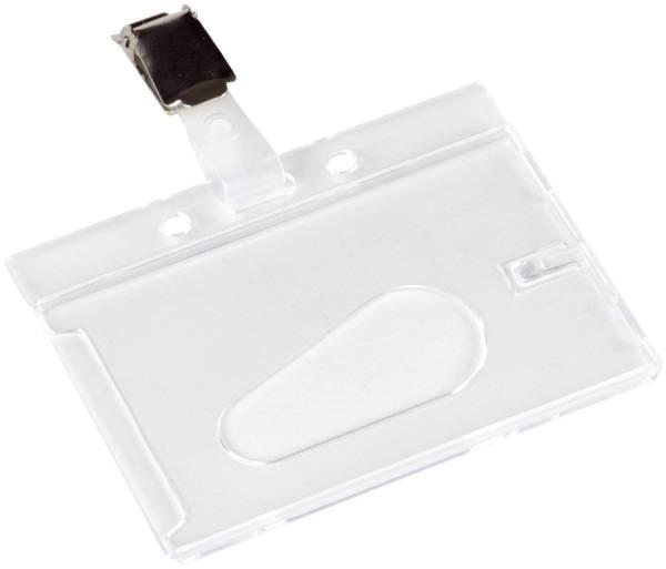 Ausweishülle mit Clip 85 x 54 mm, Hartplastik, transparent, 10 Stück