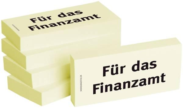 Bedruckte Haftnotizen Text: Für das Finanzamt