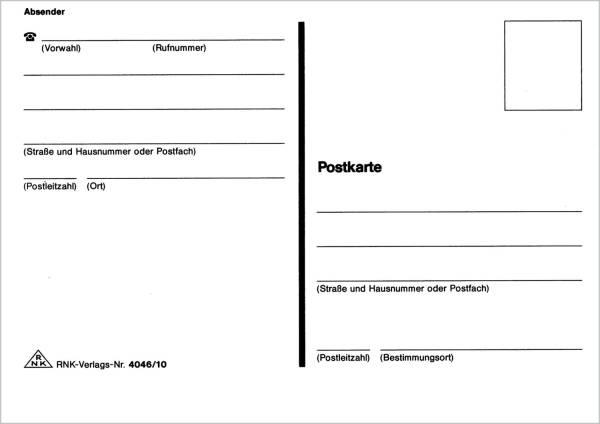 RNK Postkartenblock m.Absender 4046-10 A6q 10Bl