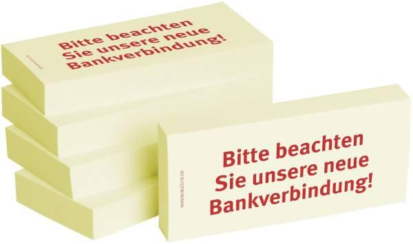 Bedruckte Haftnotizen Text: Bitte beachten Sie unsere neue Bankverbindung