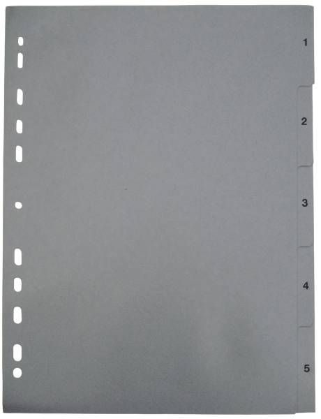 Zahlenregister 1 5, PP, A4, 5 Blatt, grau