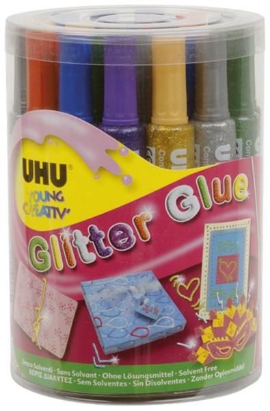 Young Creativ Glitter Glue ORIGINAL 24 Tuben á 76 g in Runddose, sortiert