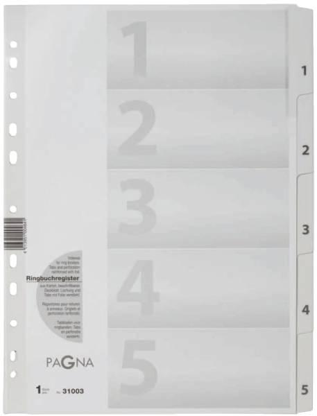 Zahlenregister 1 5, Karton, A4, 5 Blatt, weiß