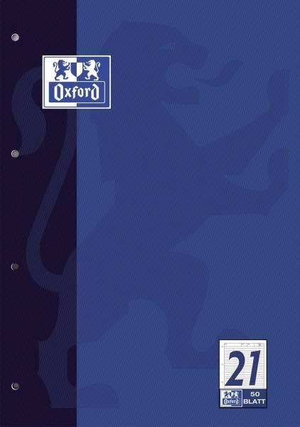 Arbeitsblock Lin 21 A4, 50 Blatt, 90 g qm, 4 fach Lochung