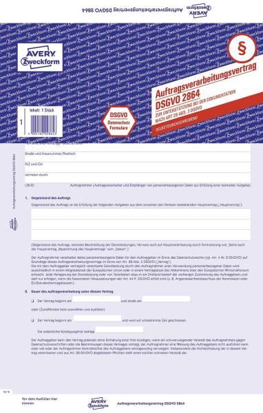 2864 Auftragsverarbeitungsvertrag DSGVO A4, SD, 4 Blatt