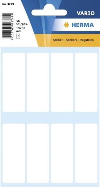 HERMA Etiketten 19x50 mm weiß 56 Stück 3749 permanent haftend