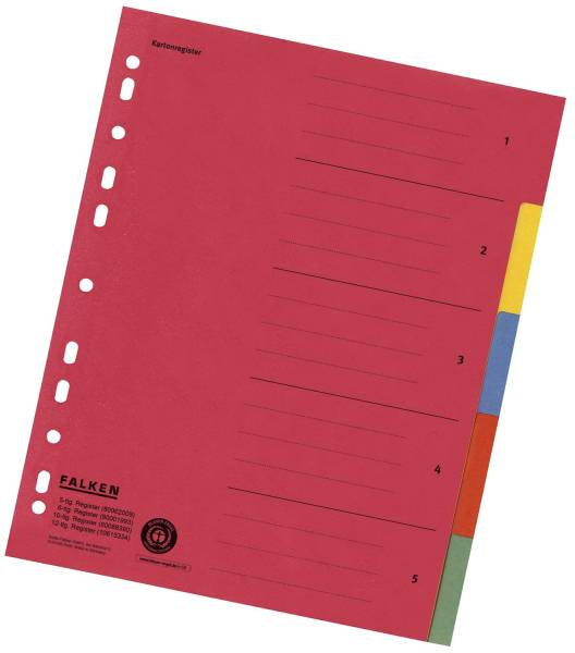 Zahlenregister 1 5, Karton farbig, A4, 5 Farben, gelocht mit Orgadruck